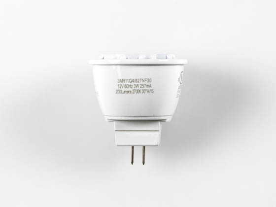 Green Creative 40713 3MR11G4/827NF30 3W 2700K 30° MR11 LED Bulb, GU4 Base, Rated For Enclosed Fixtures