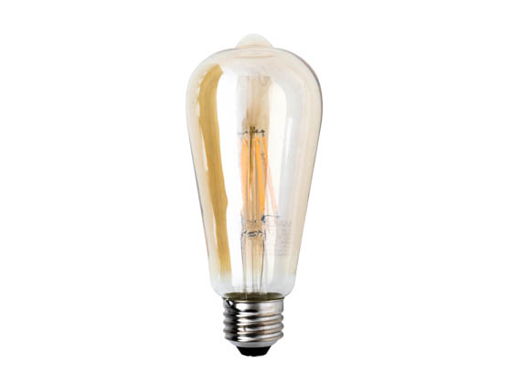 Satco Products, Inc. S9579 6.5ST19/AMB/LED/E26/23K/120V Satco Dimmable 6.5W 2300K Vintage ST19 Filament LED Bulb, Enclosed Rated