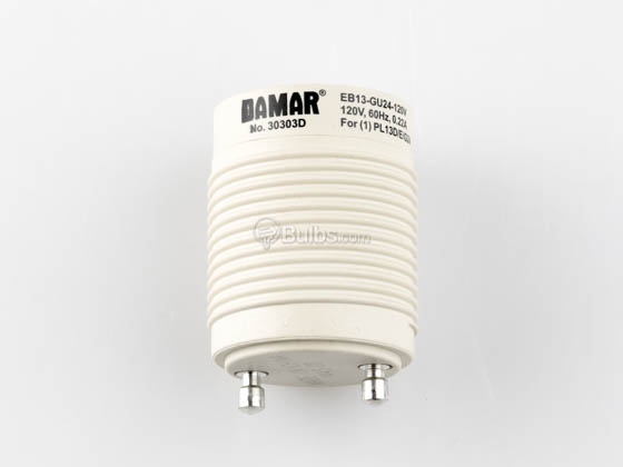 Damar Worldwide 30303D GU24 Adapter Self Ballasted GU24 Adapter for 13 Watt Plug In CFL