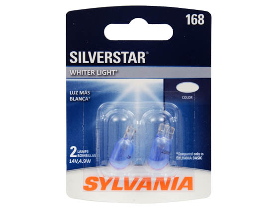 Sylvania 32776 168ST.BP2 EN-SP 2/SKU 12/BX 72/CS 168 SilverStar Interior, Exterior Auto Light