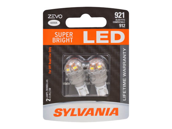 Sylvania 32747 ZEVO2 921LED.BP2 EN-SP 2/SKU 72/CS 921 ZEVO LED Mini Auto Bulb
