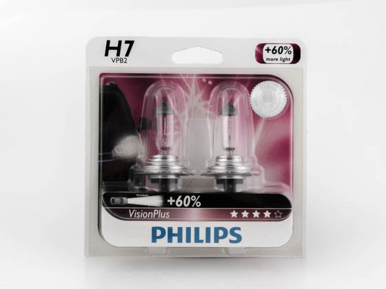 Philips Lighting PA-12972VPB2 12972VPB2 (H7VP) Philips VisionPlus 12972/H7 Halogen Low and High Beam Headlamp, Fog Light - Up to 60 ft. Longer Beam
