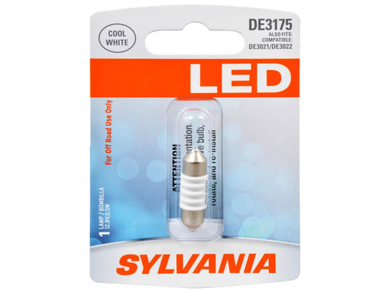 Sylvania 33278 SYLED DE3175SL.BP EN-SP UPP 1/SKU 12/CS DE3175 LED 31mm Festoon Interior Auto Bulb