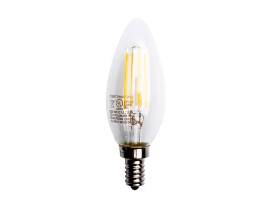 Lighting Science FG-02652 LSPro B11 40WE W27 FIL E12 120 V2 3PK Dimmable 4 Watt 2700K Filament LED Bulb, 3 Pack