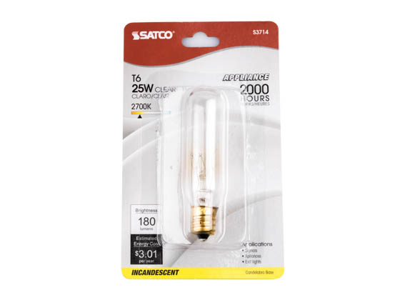 Satco Products, Inc. S3714 25T6/CL/E12/120V/CD Satco 25W 120V T6 Vintage Decorative Bulb, E12 Base