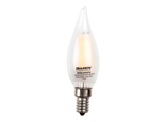 Bulbrite 776660 LED4CA10/27K/FIL/E12/F/2 Dimmable 4.5W 2700K Decorative Frosted Filament LED Bulb, Enclosed Fixture Rated