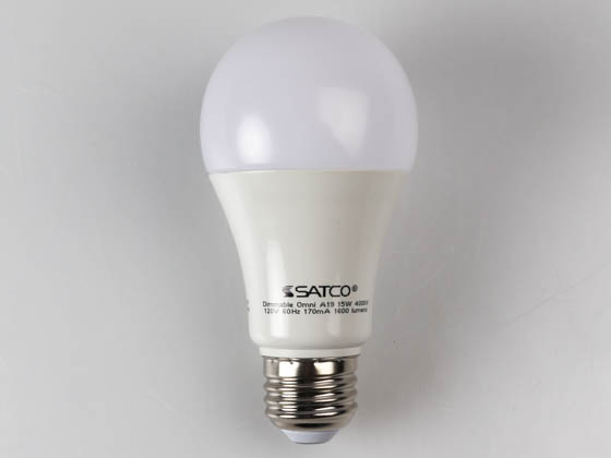Satco Products, Inc. S29817 15A19/LED/4000K/1600L/120V/D Satco Dimmable 15W 4000K A19 LED Bulb, Enclosed Rated