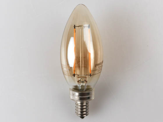 Philips Lighting 470757 2.5B11/LED/827/E12/CL-A/DIM 120V FB 1PK Philips Dimmable 2.5 Watt 2700K Decorative Filament LED Bulb