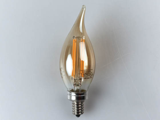 Philips Lighting 470773 4BA11/LED/827/E12/CL-A/DIM 120V Philips Dimmable 4 Watt 2700K Decorative Filament LED Bulb