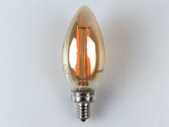 Philips Lighting 475830 4.5B11/AMB/822/E12/CL/DIM CT 1PK Philips Dimmable 4.5W 2200K Decorative Vintage Filament LED Bulb, Enclosed Rated