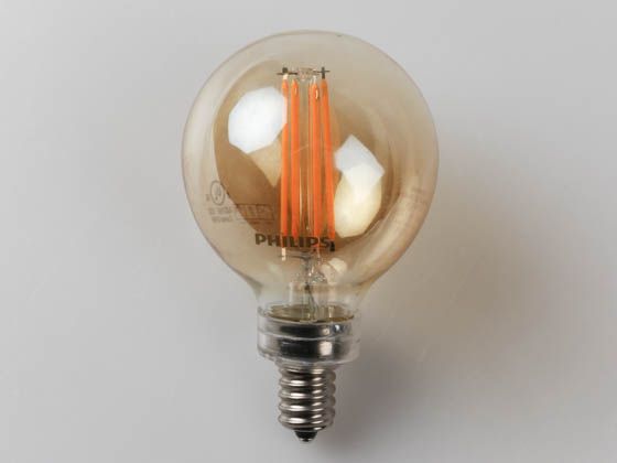 Philips Lighting 475822 4.5G16.5/VIN/822/E12/GL_CL/DIM Philips Dimmable 4.5W 2200K Vintage G16.5 Filament LED Bulb, E12 Base, Enclosed Rated