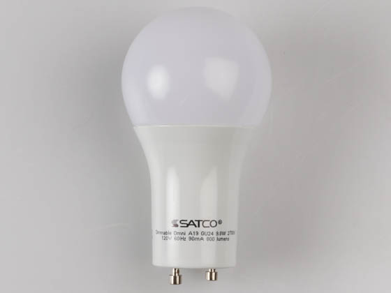 Satco Products, Inc. S29840 9.8A19/OMNI/220/LED/27K/GU24 Satco DImmable 9.8W 2700K A19 LED Bulb, GU24 Base, Enclosed Fixture Rated