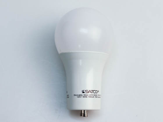 Satco Products, Inc. S29814 11A19/LED/2700K/120V/D/GU24 Satco Dimmable 11W 2700K A19 LED Bulb, GU24 Base, Enclosed Fixture Rated