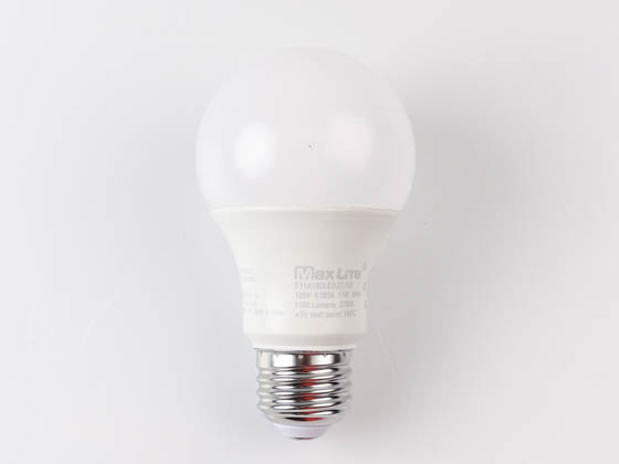 MaxLite 14099399 E11A19DLED27/G6 Maxlite Dimmable 11W 2700K A19 LED Bulb, Enclosed Rated