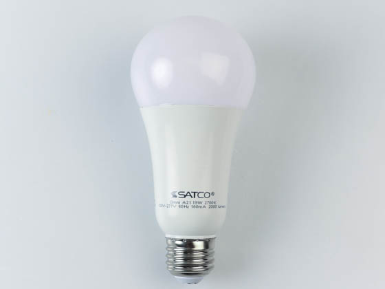 Satco Products, Inc. S8647 19A21/LED/30K/120-277V Satco Non-Dimmable 19W 3000K 120-277V A21 LED Bulb, Enclosed Fixture Rated