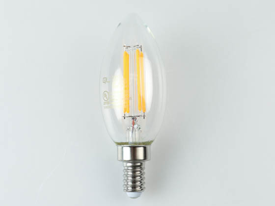 QLS FB11D4022KE12C Dimmable 4W 2200K Decorative Vintage Filament LED Bulb, Enclosed Fixture Rated