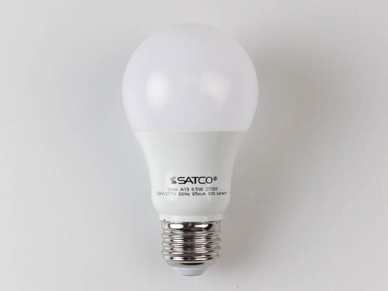 Satco Products, Inc. S8914 8.5A19/LED/27K /120-277V Satco Non-Dimmable 8.5 Watt, 120-277 Volt 2700K A-19 LED Bulb, Enclosed Fixture Rated
