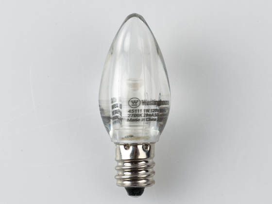 Westinghouse 45111 1C7/LED/CL/CB/27 2CD Non-Dimmable Clear 1W C7 Night Light LED Bulb, Enclosed Rated