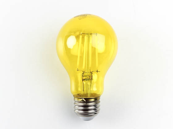 Philips Lighting 538223 4A19/LED/YELLOW/G/E26/ND Philips Non-Dimmable 4 Watt Yellow A19 Filament LED Party/Bug Light Bulb, Outdoor Rated