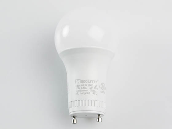 MaxLite 14099415-7 E15A19GUDLED30/G7 Dimmable 15W 3000K A19 LED Bulb, GU24 Base, Enclosed Rated