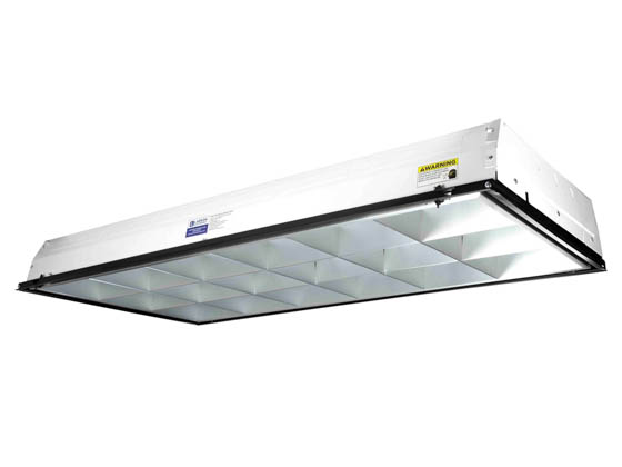 Larson Electronics GAU-TRF-2X4-3L-LVR-UVC-T8MSSPF GAU-TRF-2X4-3L-LVR-UVC-T8-V1-MS-SPF 97.5W UVC 3 Lamp 2x4 Recessed Troffer 500 sqft with Motion Sensor and Shatter Proof 120-277v