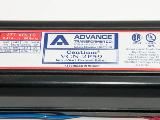 Advance Transformer VCN2P59 VCN2P59 (277V) Philips Advance 277 Volt Two Lamp F96T8 Electronic Ballast
