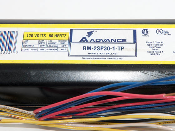 Advance Transformer RM2SP30TP RM2SP30TP (120V) Philips Advance 120 Volt Two Lamp F30T12 Magnetic Ballast