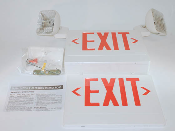 TCP TEC20784 TCP 20784 120 to 277V Red LED Exit Sign with Incandescent Emergency Lights