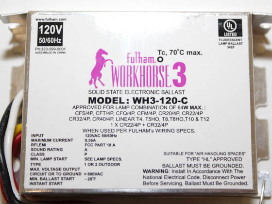 Fulham WH3-120-C WorkHorse 3 Electronic Instant Start Ballast 120V, Compact Case
