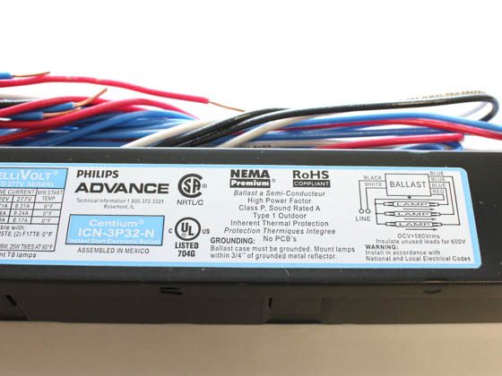 Advance Transformer ICN3P32N35I ICN3P32N (120-277V) Philips Advance Electronic Ballast 120V to 277V for (2 or 3) F32T8