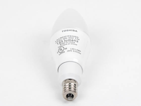 Toshiba 4B11/27CF-UP T4B11/27CF-UP 25W Incandescent Equivalent, Dimmable, 25,000 Hour,  3.8 Watt, 120 Volt Warm White LED Frosted Decorative Bulb