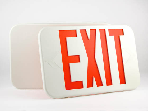 Simkar DLR2RW SK66-00349 Slimline LED Exit Sign With Battery Backup, Red Letters
