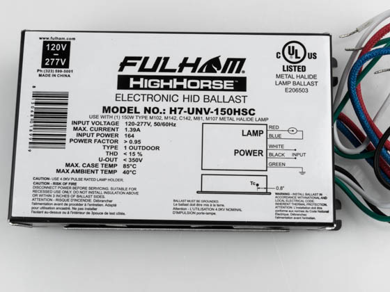 Fulham H7-UNV-150HSC High Horse 150W Electric Metal Halide Ballast