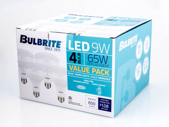 Bulbrite 773350 LED9BR30/827/4PK Dimmable 9W 2700K BR30 LED Bulb, 4-Pack