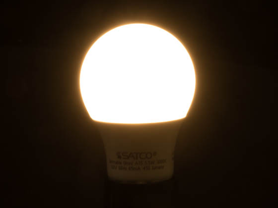 Satco Products, Inc. S9031 5.5A15/LED/3000K/120V Satco Dimmable 5.5W 3000K A15 LED Bulb, Enclosed Fixture Rated