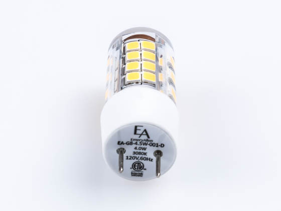 EmeryAllen EA-G8-4.5W-001-3080-D Dimmable 4W 120V 3000K T3 LED Bulb, G8 Base, Enclosed Rated