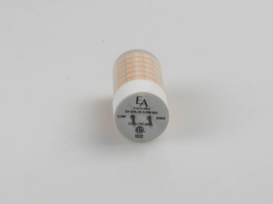EmeryAllen EA-GY6.35-5.0W-001-309F Dimmable 5W 12V 3000K JC LED Bulb, GY6.35 Base, Enclosed Rated