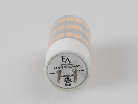 EmeryAllen EA-GY6.35-4.0W-001-309F Dimmable 4W 12V 3000K JC LED Bulb, GY6.35 Base, Enclosed Rated