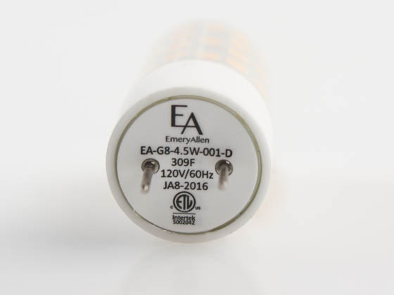 EmeryAllen EA-G8-4.5W-001-309F-D Dimmable 4.5W 120V 3000K T3 LED Bulb, G8 Base, Enclosed Rated