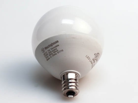 Westinghouse 45131 7G16.5/LED/DIM/SW/CB/27 1CD Dimmable 7W 2700K G-16.5 Globe Frosted LED Bulb, E12 Base