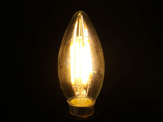 Bulbrite 776627 LED5B11/30K/FIL/E12/3 Dimmable 5W 3000K Decorative Filament LED Bulb, Enclosed Fixture Rated