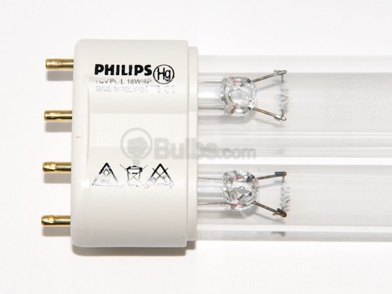 Philips Lighting 210641 TUV PL-L 18W/4P (Germicidal) Philips 18W TUV 4 Pin 2G11 Germicidal Long Single Twin Tube CFL Bulb