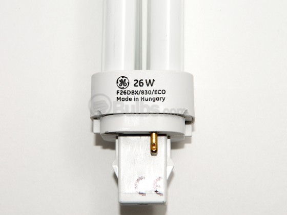 GE GE97607 F26DBX/830/ECO (2 Pin) 26W 2 Pin G24d3 Soft White Double Twin Tube CFL Bulb