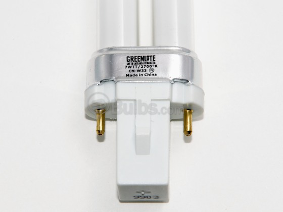 Greenlite Corp. G111005 7W/TT/2P/27K DISC. (USE 512444) 7 Watt 2-Pin Very Warm White Single Twin Tube CFL Bulb