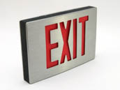 Simkar SK6600066 SDCB2RBA Aluminum LED Exit Sign Red Lettering Battery Backup