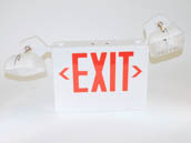 TCP 120 to 277V Red LED Exit Sign with Incandescent Emergency Lights