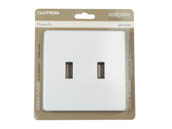 Lutron Electronics FG-2-WH Lutron Fassada Screwless 2-Gang Wallplate, White