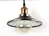 Bulbrite B810011 NOS/PEND/SHADE-PW Nostalgic Pendant Fixture With Shade, Antique Pewter Finish