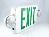 Simkar DLC2GW SK66-00387 LED Dual Head Exit/Emergency, Green Letters