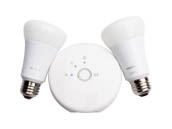 Philips Lighting 452714 Philips Hue Lux 9W A19 E26 Kit Philips Hue Lux A19 LED Starter Kit, Includes 2 Hue Lux LED A19 Bulbs, 1 Hue Bridge, 1 Ethernet Cable & 1 Power Adapter